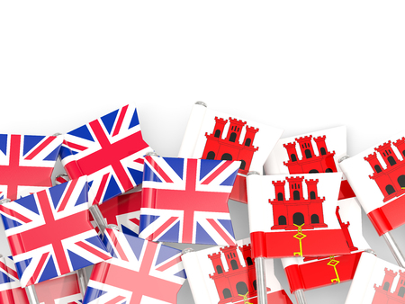 Flag pins of United Kingdom and Gibraltar isolated on white. 3D illustration