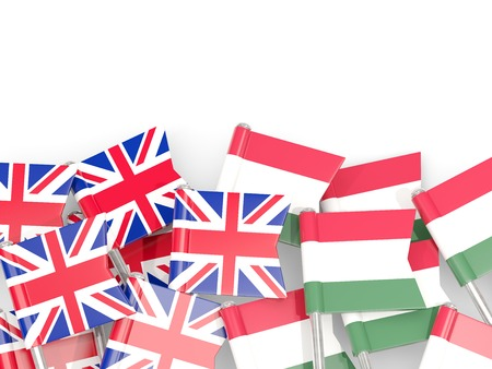 Flag pins of United Kingdom and Hungary isolated on white. 3D illustration