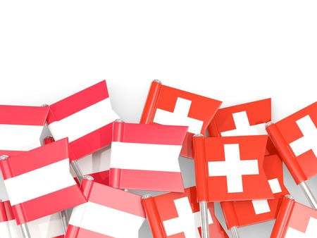 Flag pins of Austria and Switzerland isolated on white. 3D illustration