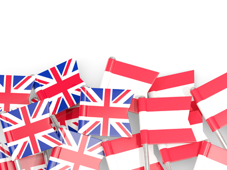 Flag pins of United Kingdom and Austria isolated on white. 3D illustration