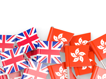 Flag pins of United Kingdom and Hong Kong isolated on white. 3D illustration