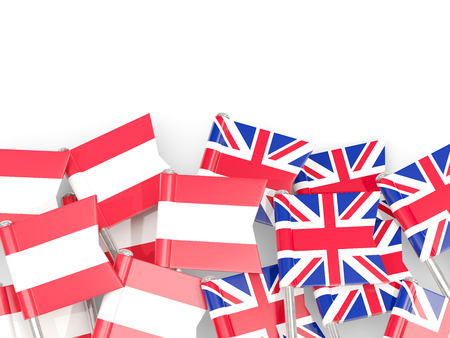 Flag pins of Austria and UK isolated on white. 3D illustration