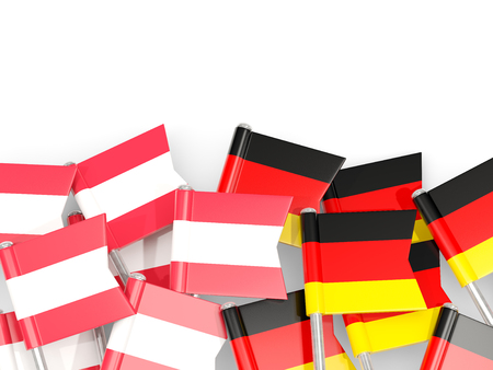 Flag pins of Austria and Germany isolated on white. 3D illustration Stock Photo