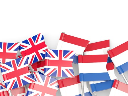 Flag pins of United Kingdom and Netherlands isolated on white. 3D illustration