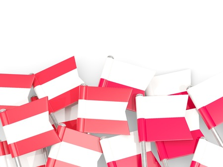 Flag pins of Austria and Poland isolated on white. 3D illustration