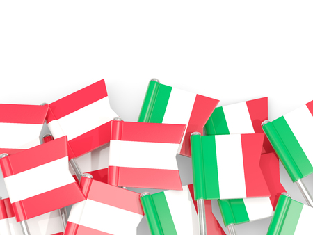 Flag pins of Austria and Italy isolated on white. 3D illustration
