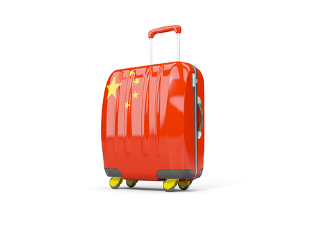 suitcase packing: Luggage with flag of china. Suitcase isolated on white. 3D illustration