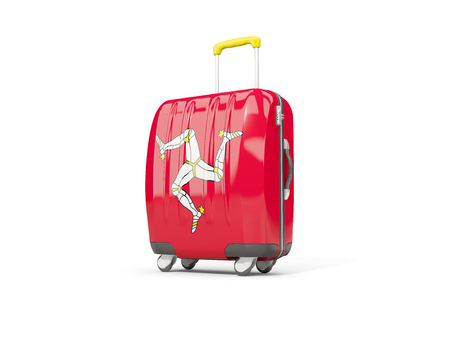 suitcase packing: Luggage with flag of isle of man. Suitcase isolated on white. 3D illustration