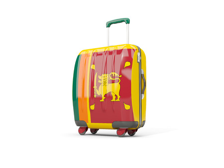 suitcase packing: Luggage with flag of sri lanka. Suitcase isolated on white. 3D illustration