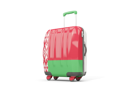 Luggage with flag of belarus. Suitcase isolated on white. 3D illustration