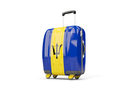 Luggage with flag of barbados. Suitcase isolated on white. 3D illustration