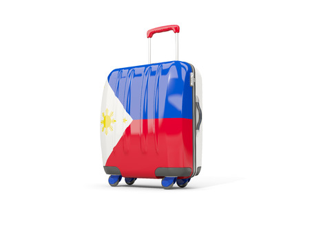 suitcase packing: Luggage with flag of philippines. Suitcase isolated on white. 3D illustration