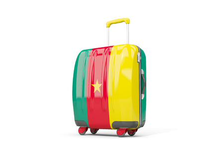 Luggage with flag of cameroon. Suitcase isolated on white. 3D illustration