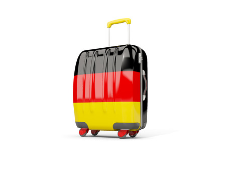 suitcase packing: Luggage with flag of germany. Suitcase isolated on white. 3D illustration Stock Photo