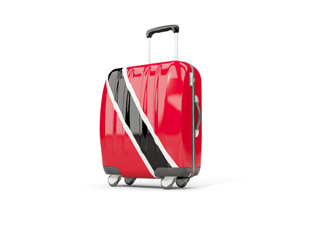 suitcase packing: Luggage with flag of trinidad and tobago. Suitcase isolated on white. 3D illustration