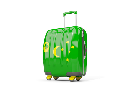 Luggage with flag of cocos islands. Suitcase isolated on white. 3D illustration