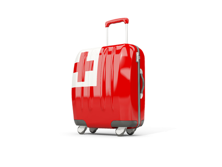 suitcase packing: Luggage with flag of tonga. Suitcase isolated on white. 3D illustration Stock Photo