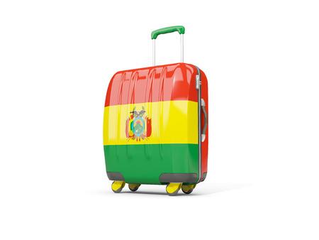 Equipaje con bandera de bolivia. Maleta aislada en blanco. Ilustración 3D