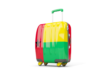 Luggage with flag of guinea bissau. Suitcase isolated on white. 3D illustration Stock Photo