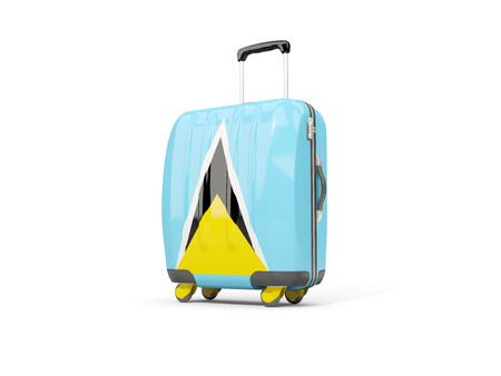 Luggage with flag of saint lucia. Suitcase isolated on white. 3D illustration Stock Photo