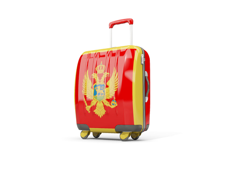 Luggage with flag of montenegro. Suitcase isolated on white. 3D illustration