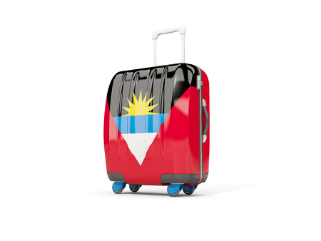 antigua: Luggage with flag of antigua and barbuda. Suitcase isolated on white. 3D illustration Stock Photo
