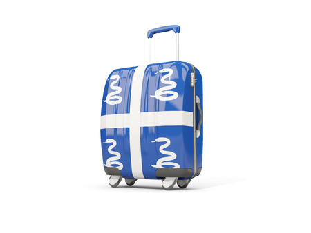 martinique: Luggage with flag of martinique. Suitcase isolated on white. 3D illustration Stock Photo