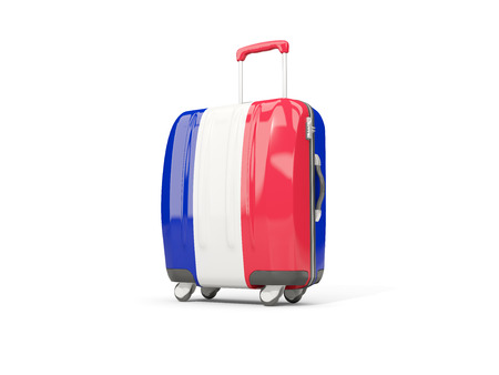 suitcase packing: Luggage with flag of france. Suitcase isolated on white. 3D illustration
