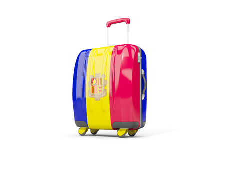 tourism in andorra: Luggage with flag of andorra. Suitcase isolated on white. 3D illustration