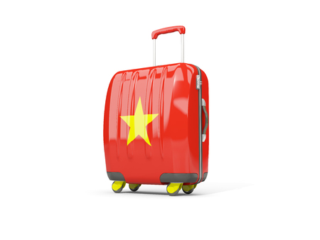Luggage with flag of vietnam. Suitcase isolated on white. 3D illustration Stock Photo