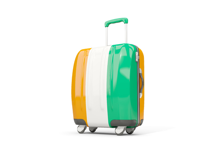Luggage with flag of cote d Ivoire. Suitcase isolated on white. 3D illustration Stock Photo