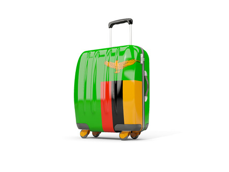 Luggage with flag of zambia. Suitcase isolated on white. 3D illustration