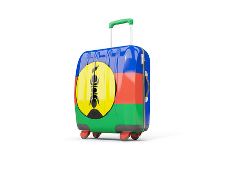 suitcase packing: Luggage with flag of new caledonia. Suitcase isolated on white. 3D illustration