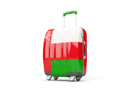 Luggage with flag of oman. Suitcase isolated on white. 3D illustration