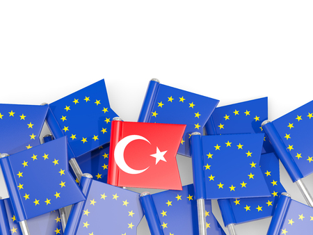Flag pins of Turkey and EU isolated on white. 3D illustration Stock Photo