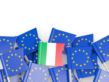 Flag pins of Italy and EU isolated on white. 3D illustration