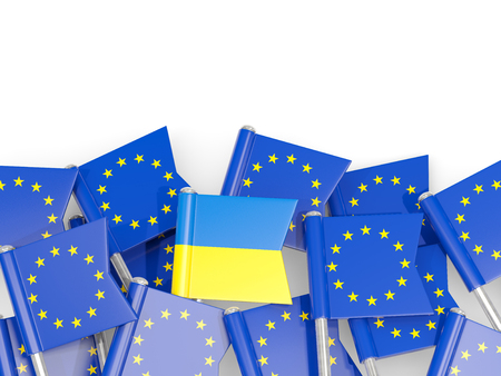 Flag pins of Ukraine and EU isolated on white. 3D illustration