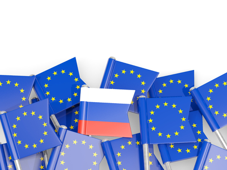 Flag pins of Russia and EU isolated on white. 3D illustration Stock Photo