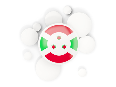 Round flag of burundi with circles pattern isolated on white. 3D illustration