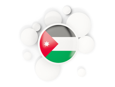 Ronde vlag van Jordanië met cirkelspatroon op wit wordt geïsoleerd dat. 3D illustratie Stockfoto