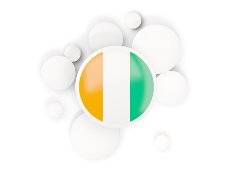 Round flag of cote d Ivoire with circles pattern isolated on white. 3D illustration Stock Photo