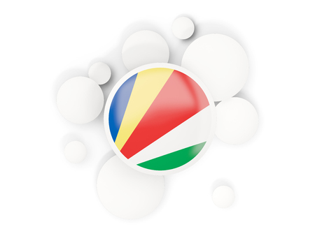Round flag of seychelles with circles pattern isolated on white. 3D illustration