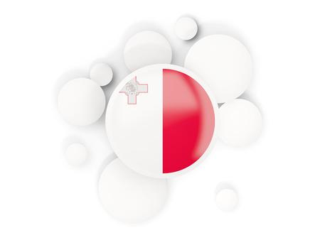 화이트 절연 동그라미 패턴으로 몰타의 국기 라운드. 3D 일러스트 레이션
