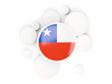 Round flag of chile with circles pattern isolated on white. 3D illustration