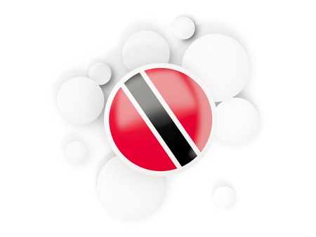 Round flag of trinidad and tobago with circles pattern isolated on white. 3D illustration Stock Photo