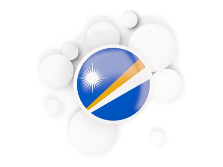 白で隔離の円パターンでマーシャル諸島の丸い旗。3 D イラストレーション 写真素材