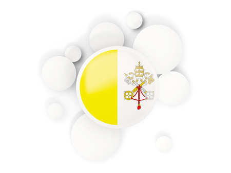 Round flag of vatican city with circles pattern isolated on white. 3D illustration 版權商用圖片
