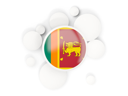 Round flag of sri lanka with circles pattern isolated on white. 3D illustration