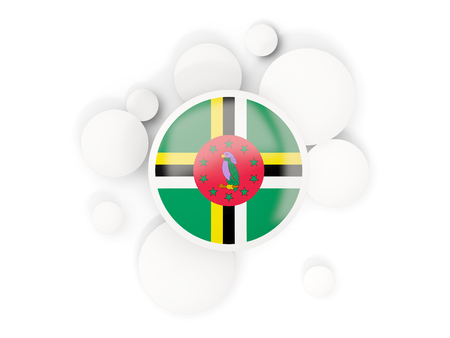 Round flag of dominica with circles pattern isolated on white. 3D illustration