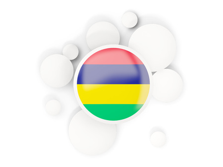Round flag of mauritius with circles pattern isolated on white. 3D illustration